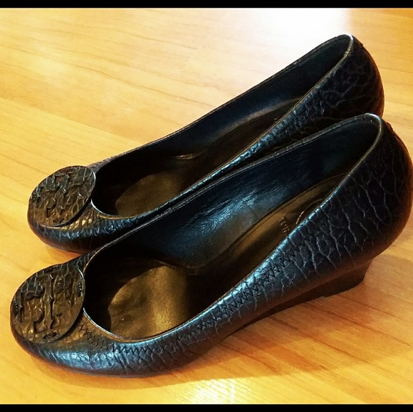 8151c77c868 Tory Burch Shoes - TORY BURCH Sally Wedge Shoes Black Pebbled Leather